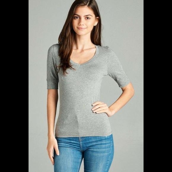 70792c919e1a3 Women s V-Neck T-Shirt 3 4 Elbow Length Solid Gray